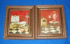 Lot of 2 Bathroom Pictures Bath Wall Hangings