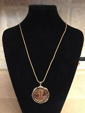 """Walking Liberty 1943 Two Tone Half Dollar Bezel US Coin with 24"""" gold rope chain"""