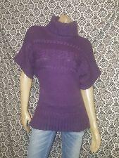Fenn Wright Manson Purple Cowl Neck Short Slv Pullover Sweater Womens SMALL USED