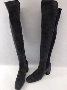Stuart Weitzman Halftime Slate Suede/Blk Stretch Fabric Boots Size 9.5N K676
