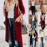 Women Open Front Fly Away Cardigan Sweter Long Sleeve With Pocket Loose Drape CA