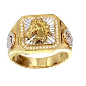 Men's Sterling Silver Yellow Gold Plated 2-tone Horse Head Ring w/ 40 CZ Stones