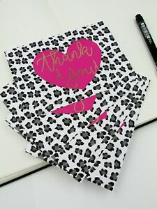 Thank You Card Pack, Pink Animal Print Thank You Postcards, Gratitude Cards To S