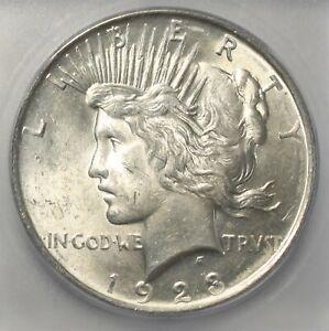 1923 P US Silver Peace Dollar $1 MS 62 ICG 863I