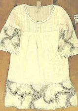 DA-NANG Womens White 3/4 Sleeve Button Up Embroidered Ruffled Dress NWT Sz Small