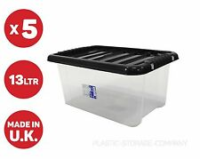 5 x 13 LITRE PLASTIC STORAGE BOX -SMALL BOX - SHOES - ALL ACCESSORIES - CHEAP!