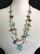 Beautiful Vintage 2 Strand Shell Heishi and Multi-Stone Fetish Necklace