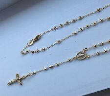 "14K YELLOW GOLD ROSARY NECKLACE 2.5mm beads/crucifix & Virgin Mary16"" 18"""
