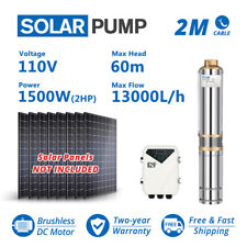 4 Dc Submersible Well Solar Water Pump Mppt Controller Kit 110v 2hp Big Flow