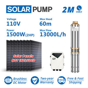 """4"""" DC Submersible Well Solar Water Pump MPPT Controller Kit 110V 2HP Big Flow"""