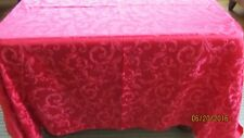 "Christmas Tablecloth Jacquard Floral Red Rectangular Cotton blend 100"" x 59"""