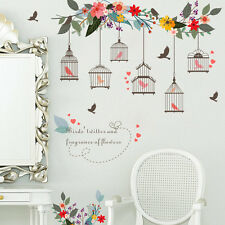 Flower Branch Bird Cage Wall Stickers Art Decals Girls Room Decor Vinyl Mural