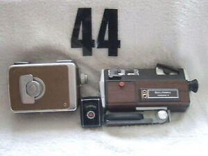 VINTAGE BELL&HOWELL FILMSOUND 8mm BROWNIE MOVIE CAMERA 8mm GE EXPOSURE METER