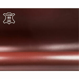 Dark Red Real Animal Hides // Burgundy Leather For Sewing // 5-6 sqft// Shiny Cr