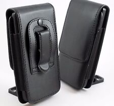 Black Leather Belt Clip Pouch Holster Flip Case Cover Holder for Various PHONES Huawei Y6 2017