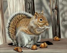 "Squirrel 2 rodent animal acorns painting Sandrine Curtiss Original Art 8x10"""