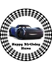 """CARS 3 JACKSON STORM 19CM ROUND WAFER PAPER WITH BONUS 2"""" CUPCAKE TOPPERS 12"""
