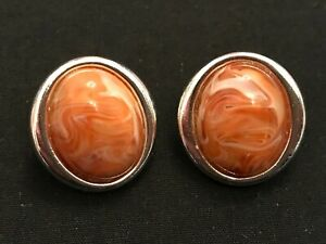 Avon - Retro - Desert Sands Earrings - Silver Plated With Large Coloured Stone