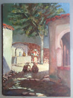 ORIENTALIST FRENCH SCHOOL GASTON DUREL UNSIGNED ANIMATED MOROCCO LANDSCAPE OIL