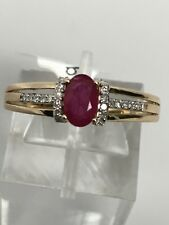10K Yellow Gold Oval Shape Natural Ruby and Diamond Accent Ring Size 7