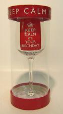 LP21515- 'Mantenere Calm It's Your Birthday' Vino vetro. solo