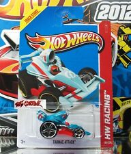 Hot Wheels 2013 #130 Tarmac Attack™ LITE BLUE,PR5,RED BASE,2ND COLOR!CUTE!!
