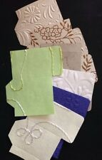 "LIBRARY CARD POCKET Die-Cut(12pc) Aprox.3""x1-3/4""Handmade Paper •Journaling•Deco"