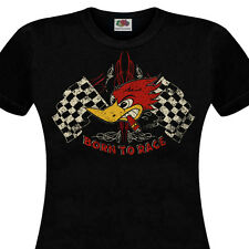 T-Shirt Femme BORN TO RACE Hot Rod Muscle Car Café Racer Chopper Custom V8 Retro