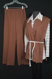 RARE VINTAGE DEADSTOCK VINTAGE 1970'S 3 PC BROWN POLY KNIT SUIT SIZE 8-10