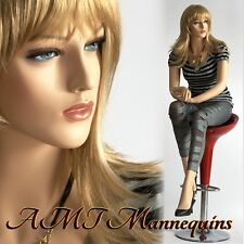 Female mannequin, sitting lady manequin, fullbody handmade manikin-Liz+1pedestal