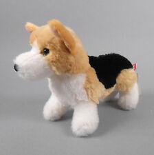 "New DOUGLAS TOY Plush Shorty Tri-Color Corgi White, Beige and Black 8"" Dog"