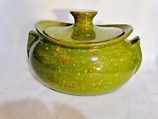 USA  Pot Soup Tureen  Green Speckled - Splatter