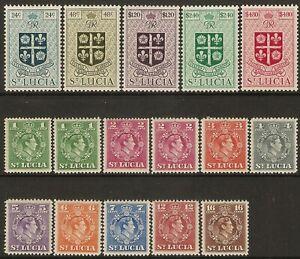 St Lucia GVI 1949-50 set (14) SG 146-159 Mint Hinged cat 50.00 gbp