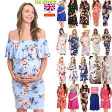 Women Summer Maternity Pregnancy Midi Dress Floral Short Sleeve Dress Size 6-18