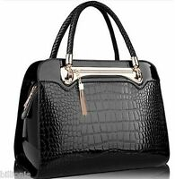 Ladies New Croc Print Designer Celebrity Tote Bag Shoulder Faux Leather Handbag