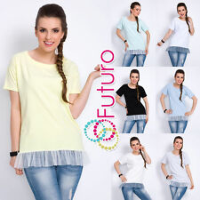 Hip Length Cotton Crew Neck Party Tops & Shirts for Women