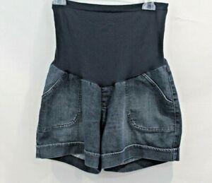 Motherhood Oh Baby Maternity Jean Shorts Women's size M Blue Denim Cargo Stretch