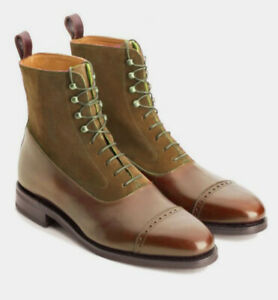 Mens Handmade Two Tone Brown Leather & Suede High Ankle Formal Boots For Men