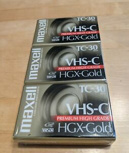 Maxell 3 Pack Camcorder Tapes TC-30 VHS-C Premium High Grade HGX-Gold Brand New!