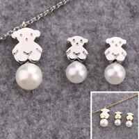 2019 Bear Necklace Bracelet Earrings Set Stainless Steel Jewelry Gift for women