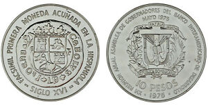 10 Pesos. Republik Dominicana. 1975. 1ª Münze Geprägt IN Die Española. UNC/ST