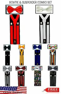 SUSPENDERS and BOW TIE COMBO SET-Tuxedo Classic Fashion Suspender and Bowtie