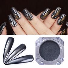 Black Mirror Nail Powder Shining Nail Art Chrome Pigment Glitter DIY Manicure