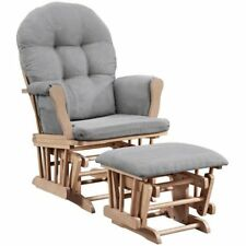Angel Line Windsor Glider and Ottoman, Natural with Gray W