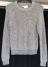 BNWT H&M Chunky Knit Jumper Size XS 6 8 Thick Warm Grey Ivory Marl Mix Cotton