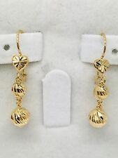 18k Solid Yellow Gold Dangling 4D Diamond cut Heart N Ball Earring. Retail $350