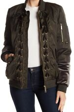 NWT $200 Sam Edelman Front Zip Lace-Up Bomber Jacket - Olive - Sz M