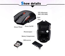 Cheap mini wireless gaming  mouse black,6 buttons usb 2.0