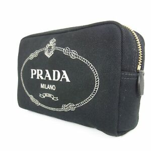 Auth PRADA Canapa Logos Canvas Leather Cosmetic Pouch Mini Bag F/S 18805bkac