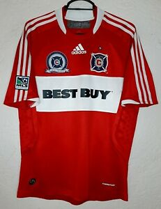 MLS Chicago Fire 2008 adidas 10 Years Cuauhtemoc Blanco Formotion Soccer Jersey